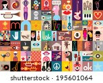 art collage  vector... | Shutterstock .eps vector #195601064