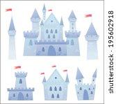 cute cartoon vector medieval... | Shutterstock .eps vector #195602918