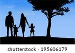 family silhouettes | Shutterstock .eps vector #195606179