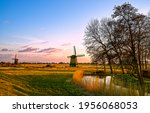 Windmill Farm At Dawn In...