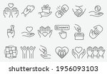 charity icon set. collection of ... | Shutterstock .eps vector #1956093103