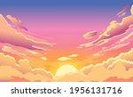 Sunset Sky. Cartoon Summer...
