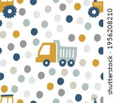 hand drawn cute cars   truck ... | Shutterstock .eps vector #1956208210