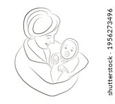 silhouette of mother and baby.... | Shutterstock .eps vector #1956273496