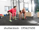 two women lifts crossfit slam... | Shutterstock . vector #195627650