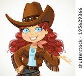 brunette curly hair cowgirl... | Shutterstock .eps vector #195629366
