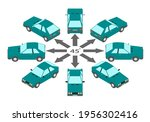 rotation of the compact car by... | Shutterstock .eps vector #1956302416