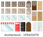 different style doors and... | Shutterstock .eps vector #195631070
