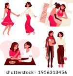 lesbian female couple lifestyle....   Shutterstock .eps vector #1956313456