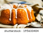 Bundt Cake With White Glaze On...