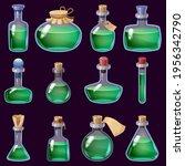 set of bottles liquid potion... | Shutterstock .eps vector #1956342790