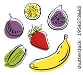 banana  strawberry  fig ... | Shutterstock .eps vector #1956373663