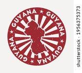 guyana stamp. travel red rubber ... | Shutterstock .eps vector #1956375373