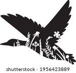 floral flying mallard duck...   Shutterstock .eps vector #1956423889