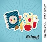 school design over blue... | Shutterstock .eps vector #195642689