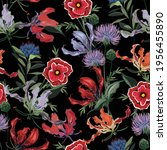 trendy dark floral pattern in... | Shutterstock .eps vector #1956455890