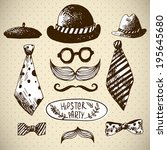 hand drawn hipster vector... | Shutterstock .eps vector #195645680