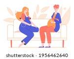 pregnant friends women sit on... | Shutterstock .eps vector #1956462640