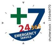 green cross sign with blue 24... | Shutterstock . vector #195646970