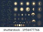 hand drawn set of mystical sun...   Shutterstock .eps vector #1956477766