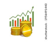 stacks of gold coins with a... | Shutterstock .eps vector #1956491440