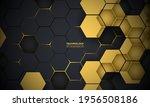 Dark Gray And Yellow Hexagonal...