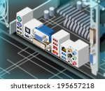motherboard ports | Shutterstock . vector #195657218