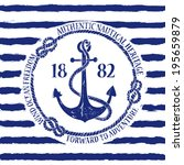 blue white nautical emblem with ... | Shutterstock .eps vector #195659879