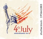 greeting card with u.s. flag... | Shutterstock .eps vector #195661883
