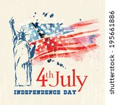 greeting card with u.s. flag... | Shutterstock .eps vector #195661886