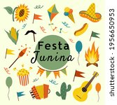 festa junina set of beautiful...   Shutterstock .eps vector #1956650953