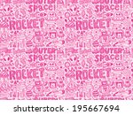 seamless doodle space pattern | Shutterstock .eps vector #195667694