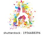 colorful sport background. yoga ...   Shutterstock .eps vector #1956688396