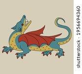 fantastic winged medieval... | Shutterstock .eps vector #1956694360