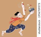 thai style songkran day set... | Shutterstock .eps vector #1956709573