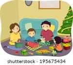 illustration of a family... | Shutterstock .eps vector #195675434