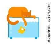 Cat And Aquarium. Small Fish...