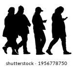 crowds people walking on street.... | Shutterstock .eps vector #1956778750