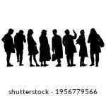 crowds people walking on street.... | Shutterstock .eps vector #1956779566