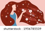 young beautiful female with... | Shutterstock .eps vector #1956785539
