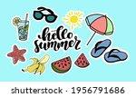 set of summer stickers on white ... | Shutterstock .eps vector #1956791686