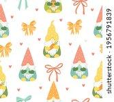 pattern spring easter gnomes.... | Shutterstock .eps vector #1956791839