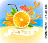 sliced orange and cocktail... | Shutterstock .eps vector #195681188