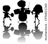 set of kids silhouette with... | Shutterstock .eps vector #1956821260