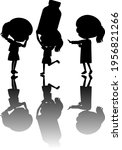 set of kids silhouette with... | Shutterstock .eps vector #1956821266