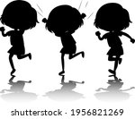 set of kids silhouette with... | Shutterstock .eps vector #1956821269
