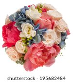 wedding bouquet with roses and... | Shutterstock . vector #195682484
