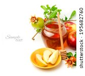 honey and apples with... | Shutterstock . vector #195682760