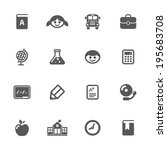 school icons  vector. | Shutterstock .eps vector #195683708