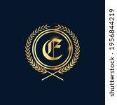 golden letter e laurel wreath... | Shutterstock .eps vector #1956844219